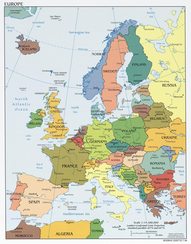 Europakarta Politisk Karta Over Europa