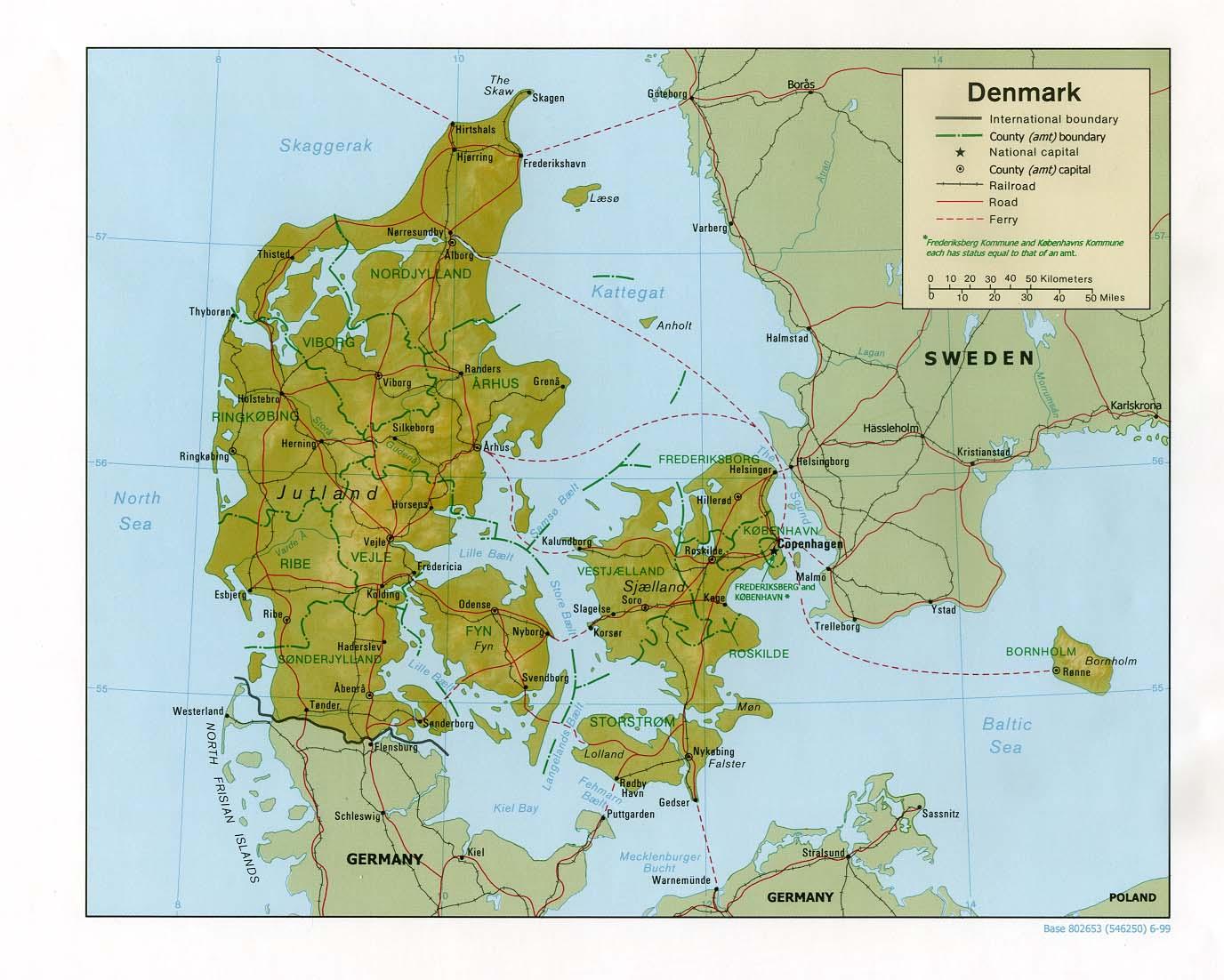Danmark Karta Terrangkarta Over Danmark